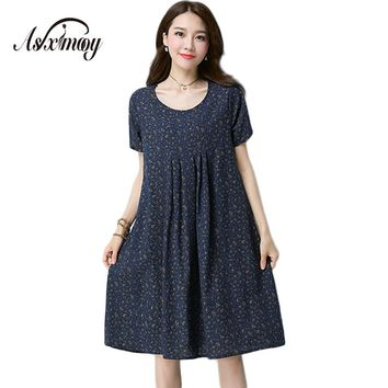 Asximooy Women New Fashion Floral Print Cotton Linen Vintage Casual Elegant Loose Summer Dress Vestidos Mujer 2017 Party Dresses