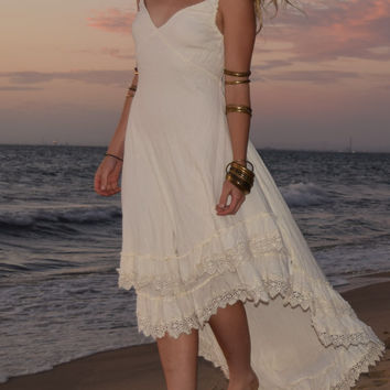 Boho, gypsy, hippie, festival, Beach Wedding, Cotton,Off White ANGEL DRESS by NaneiK