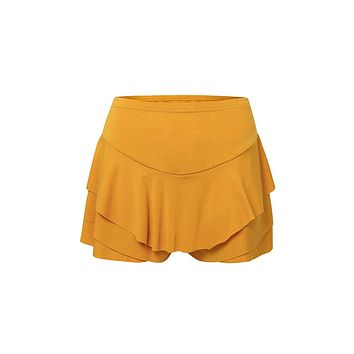 High On The List Ruffle Flounce Elastic Waist Stretch Tier Pull On Skort Shorts - 4 Colors Available
