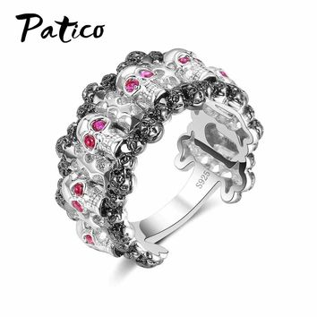 PATICO Classic Pink CZ Crystal Rings For Wedding Engagement Jewelry Skeleton Skull 925 Sterling Silver Christmas Party Anillos