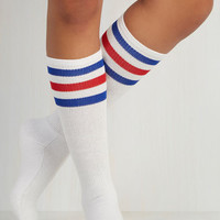 Scholastic Back On Track Star Socks in Red and Blue by ModCloth