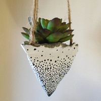 3 Hanging Concrete Succulent Pyramid Planters, Hand-Painted White with Black Dots, Jute Twine