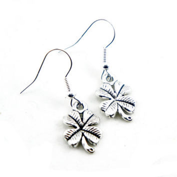 Antiqued Silver Vintage Style Four Leaf Clover Dangle Earrings - CP072