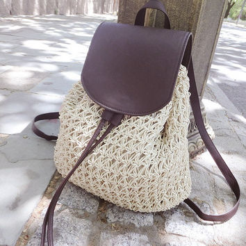 2017 Summer Crochet Straw Bag Backpack Vines Beach Knitting Bag Women Drawstring Bags Sackpack Leather Cover Hollow Out