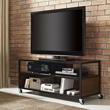 Modern Mobile TV Stand Entertainment Center Cart With 4-Casters Wheels