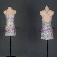 2014 short sexy homecoming dress with rhinestones,chic prom gowns for holiday party,cheap women dress in handmade hot.