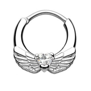 Angel Wings CZ Heart Septum Clicker