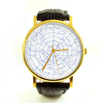 Vintage Star Chart Watch, Zodiac, Unisex Watch, Ladies Watch, Men's Watch, Astronomy, Astrology, Analog, Gift Idea, Space, Gift for Men