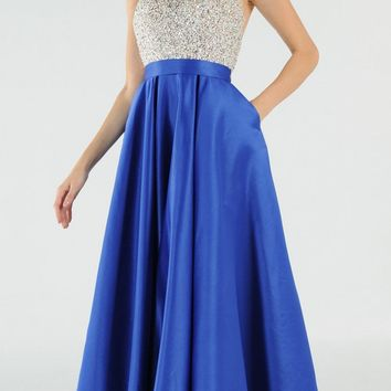 Royal Blue Halter Beaded Open Back Long Prom Dress with Pockets