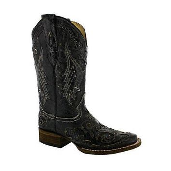 ICIKAB3 Corral Vintage Python Inlay Cowgirl Boot Square Toe Black A2402