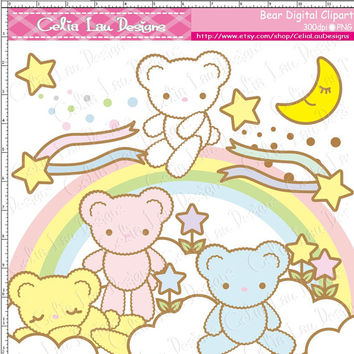 Bear Digital Clipart(A003)/Star/Cloud/Moon/Rainbow/Scrapbooking/ Web Design/ INSTANT DOWNLOAD