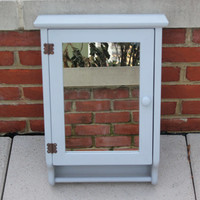 Light gray wall-mounted wood medicine cabinet with mirror - Grey decor, bathroom cabinet, painted mirror