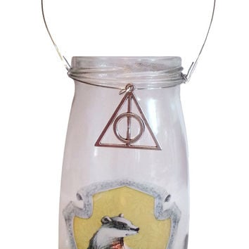 Hand made Harry Potter candle holder, Hufflepuff House, Hand made....ONE OF A KIND