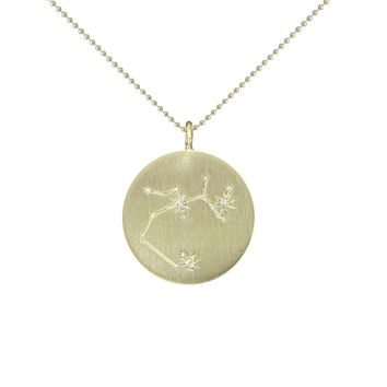Gold Zodiac Pendant with Diamonds - Sagittarius
