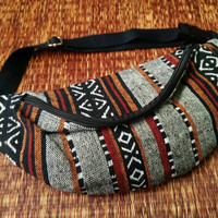 Festival Tribal Fanny pack boho Styles cycling bag Hippie Hipster phanny waist Bum bag Ethnic Ikat Bohemian Stripe unisex Multicolor black