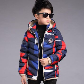 Kids boys winter padded jacket 2017 new baby boys fashion clothing big virgin warm camouflage jacket 6/7/8/9/10/11/12/13 years