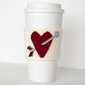 Cup Sleeve, Coffee cozy, valentine heart, burgundy wine red, i love coffee, aran colored sleeve, silver arrow, valentine for her, cup cozy