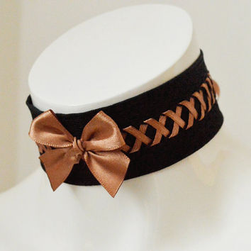 Steampunk choker - Airship Grace - black and brown victorian gothic choker with lacing - cosplay con larp costume lolita pirate accessories