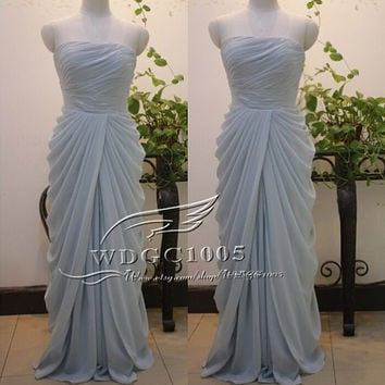 Fashion long bridesmaid dress, light blue chiffon prom party dress, floor length graduation gown, custom Tiffany Blue Mint Bridesmaid Dress