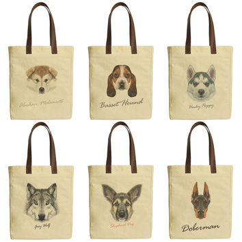 Women Dog Portraits Beige Print Canvas Tote Bags Leather Handles