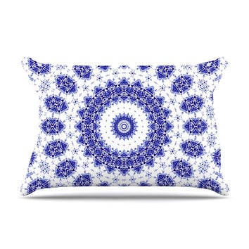 "Iris Lehnhardt ""M2"" Blue White Pillow Case"