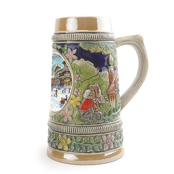 German Winter Ceramic Shot Beer Stein Collectible