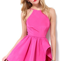 Fuchsia Frilled Crew Backless Skater Dress