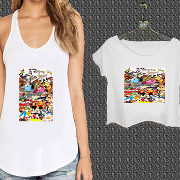 Disney all character Art For Woman Tank Top , Man Tank Top / Crop Shirt, Sexy Shirt,Cropped Shirt,Crop Tshirt Women,Crop Shirt Women S, M, L, XL, 2XL*NP*