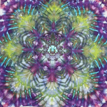 tie dye tapestry wall hanging trippy mandala purple green yellow
