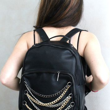Tri-Tone Chained Pocket Backpack