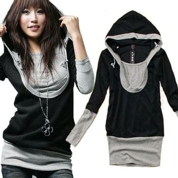 Fashion Slim Women Hoodie U Collar Cotton Sweatshirt Long Sleeve