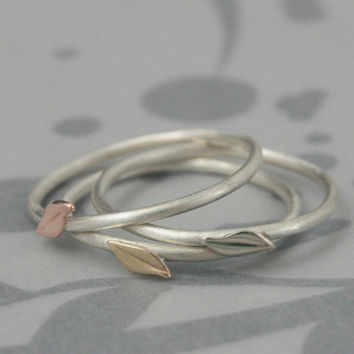 Signs of Spring--Leaf Stackers--Solid 14K Gold Leaves on a Sterling Silver Band--One Stacking Ring in the Gold Color of YOUR Choice