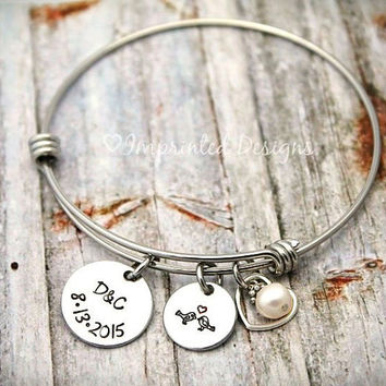 Alex and Ani Style Bracelet - Initials - Date -  Hand Stamped - Personalized - Wedding - Anniversary - Couples - Love Birds