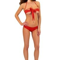 Amour - Sexy Lingerie Red Bow Tie Open Cups Bra Set Santa X'mas Celebrate Lingerie (Red)