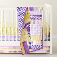 The Land of Nod: Baby Bedding: Purple Patchwork Crib Bedding in Crib Bedding