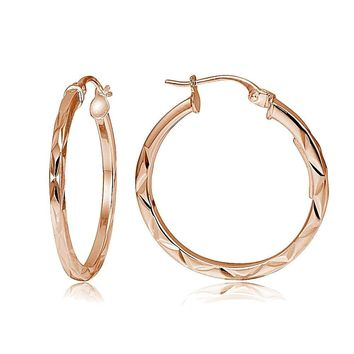 "Rose Gold Tone Over Sterling Silver Diamond-Cut .6"" Small Square Hoop Earrings"