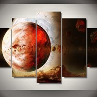 Exoplanet planet space stars 5 piece canvas wall art