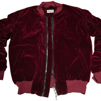 Reves Paris Ruby Velour 2.0 Bomber Jacket In Ruby