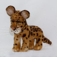 Clouded Leopard Needle Felted Sculpture by WoolSculptures on Etsy