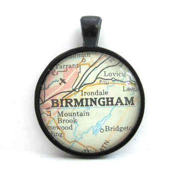 Birmingham, Alabama, Pendant from Vintage Map, in Glass Tile Circle