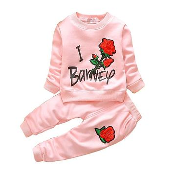 Girls Clothing Set Spring Autumn Children Girls Tracksuit Clothes Kids Girls Floral Sweatshirt Pants Sport Suit Set