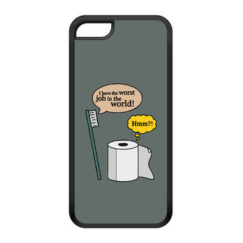 Worst Job in the World Black Silicon Rubber Case for iPhone 5C by Chargrilled