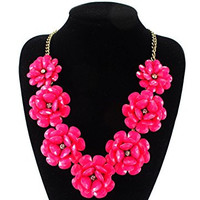 Golden Plated Chain 7 Flowers Necklace in Hot Pink
