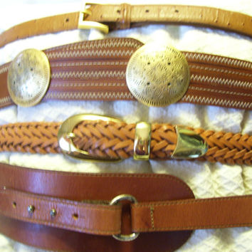 Women's Belts SELECT ONE Luggage Tan Equestrian Loop // Tan Woven Gold Guide // Luggage Tan Western Conchos // Tan Ostrich Size S M L