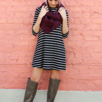 The Lucky Ones Black & Mocha Striped Ribbed Swing Dress With Quarter Length Sleeves