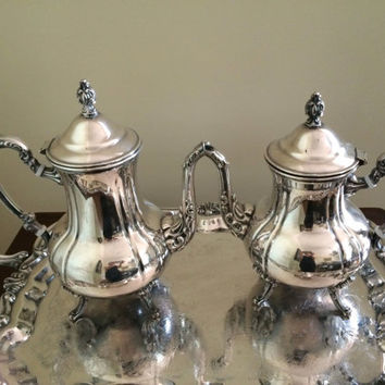 Beautiful 5 Piece Towle Silver Tea Set, Footed Silver Tray, Vintage Silver Serving Entertaining, Bridal Gift, Lovely Condition, Home Decor,