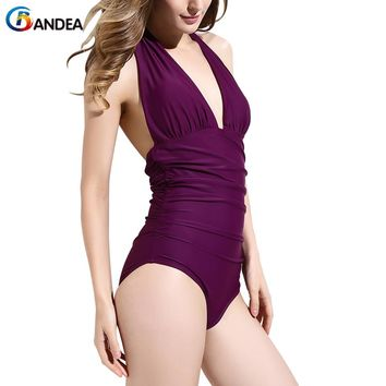BANDEA new sexy one piece swimsuit vintage solid swimwear high cut bathing suit halter top swim wear monokini plus size
