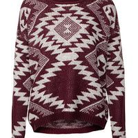 Burgundy and White Aztec Fairisle Jumper