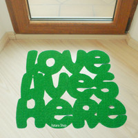 Love lives here door mat. Romantic floor mat. Custom doormat phrase