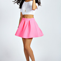 Tianna Neon Box Pleat Skater Skirt